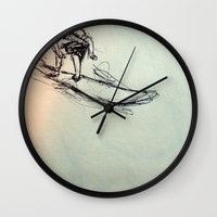 surfing Wall Clocks featuring SURFING by Katyb