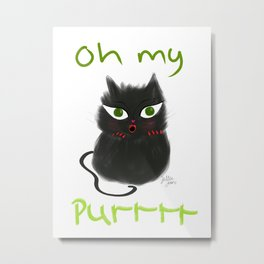 Oh My Purr Adorable Black Cat Metal Print