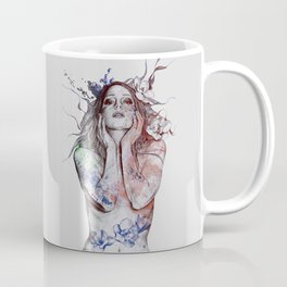 The Withering Spring: Wine (nude tattooed girl with flowers) Coffee Mug