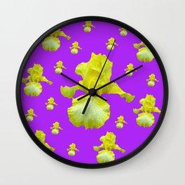 Yellow-White Iris on Lilac Purple Pattern Abstract Wall Clock