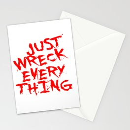 Just Wreck Everything Bright Red Grunge Graffiti Stationery Cards