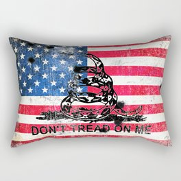 Viper N Bullet Holes On Old Glory - Gadsden and American Flag Rectangular Pillow