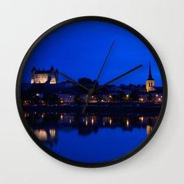 Panorama of Saumur at night , France. Wall Clock