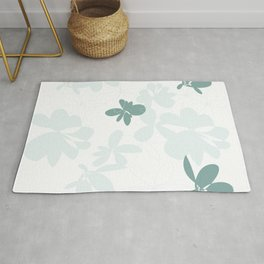 Green floating blooms Rug