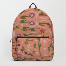 Coral Pink Hand Painted Bohemian Flower Design Backpack