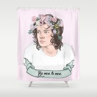 coconutwishes Shower Curtains featuring Be nice to nice by Coconut Wishes