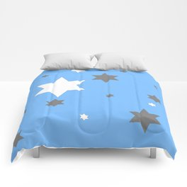 SIMPLY GREY & WHITE STARS ON BABY BLUE DESIGN Comforters