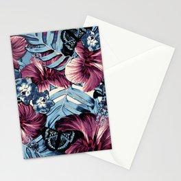 Vintage Chambray Burgundy Aloha Stationery Cards