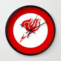 fairy tail Wall Clocks featuring Fairy Tail Segmented Logo circle by JoshBeck