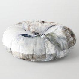 Watercolour grey wolf portrait Floor Pillow