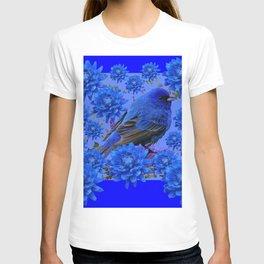 Blue Bird & Blue Flowers Pattern Art T-shirt