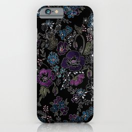 Floral pattern on a black background . Blue and purple flowers . iPhone Case