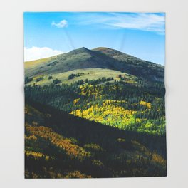 Beautiful Green Mountain Valley Green Fields Littered With Trees Magical Fairytale Landscape Throw Blanket