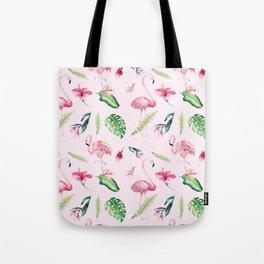 Blush pink green watercolor monster leaves flamingos pattern Tote Bag
