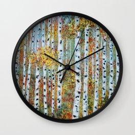 Last Hurrah, Aspen Tree Painting Wall Clock