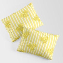 Lemon Slices on Yellow Stripes Pillow Sham