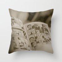 manga Throw Pillows featuring manga by gorkarcophoto