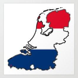 Netherlands Map with Dutch Flag Art Print