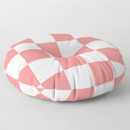 Large Checkered - White and Coral Pink Floor Pillow