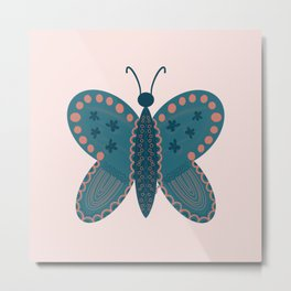 Fly Butterfly Teal Metal Print