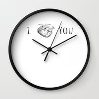 anatomical heart Wall Clocks featuring I heart you in an anatomical way by Tiny Baker