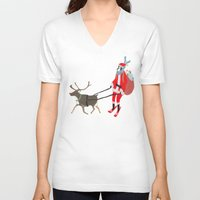 husky V-neck T-shirts featuring Santa Husky by miba