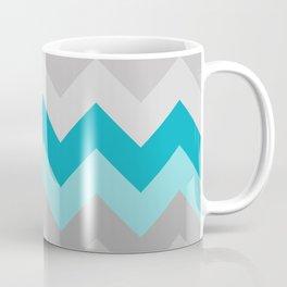 Teal Turquoise Blue Grey Gray Chevron Ombre Fade Coffee Mug
