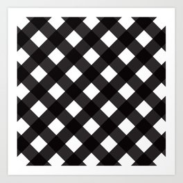 Contemporary Black & White Tilt Gingham Pattern - Mix & Match With Simplicty Of Life Art Print