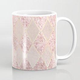 Blush Rose Gold Glitter Argyle Coffee Mug