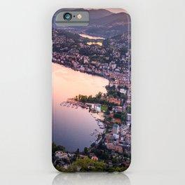 Lake Lugano Alpine Sunset, Switzerland photograph iPhone Case
