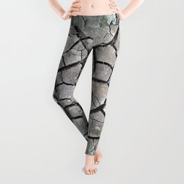 dry cracked earth natural mud pattern texture Leggings