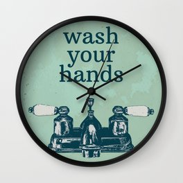 Wash Your Hands   Bathroom Rules, Vintage Distressed Bathroom Sign, Farmhouse Decor Wall Clock