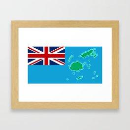 Fiji Map with Fijian iTaukei Flag Framed Art Print