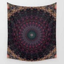 Mandala in dark red and brown tones Wall Tapestry