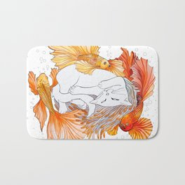 Cat and Golden Fishes Bath Mat
