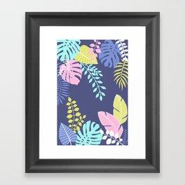 Bold Pastel Jungle Floral Framed Art Print