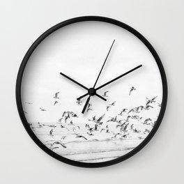 """Seagulls"" | Coastal black and white photo | Film photography | Beach Wall Clock"