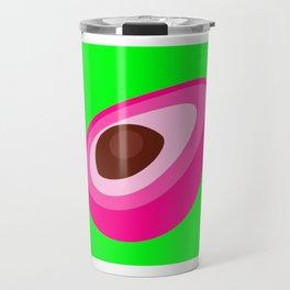 Pink Avocado On Green Background Art Simple Colourful Decor Gift Idea Travel Mug