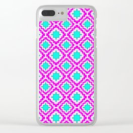 Cowgirl Pink and Turquoise Navajo Native Inspired Oklahoma Arizona Southwestern Design Pattern Clear iPhone Case