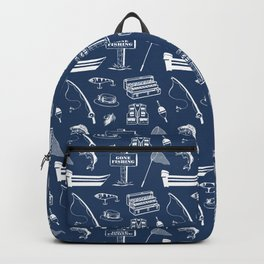 Gone Fishing // Navy Blue Backpack