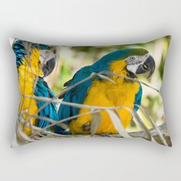 Parrots couple in the tree tops Rectangular Pillow