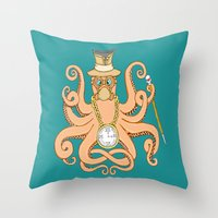 steam punk Throw Pillows featuring Steam Punk Octopus by J&C Creations