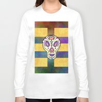 sugar skull Long Sleeve T-shirts featuring Sugar Skull by Linda Tomei