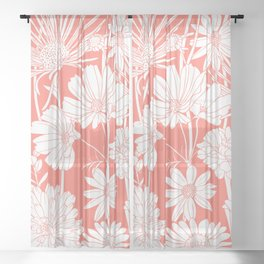 Festive, Wildflower Print, Coral and White Sheer Curtain