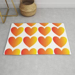 Love Hearts Red Through Yellow Ombre Rug