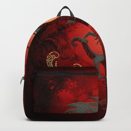 Funny dragon with floral elements Backpack