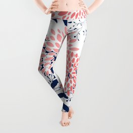 Festive, Floral Prints and Leaves, Navy Blue, Pink and White Leggings
