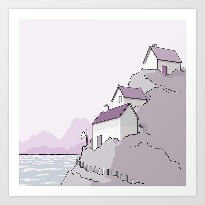 Houses on a cliff Art Print