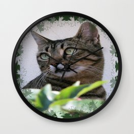 Tabby Cat Sitting In The Shade Behind Passiflora Vine Wall Clock