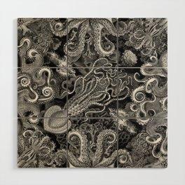 The Kraken (Black & White, Square) Wood Wall Art